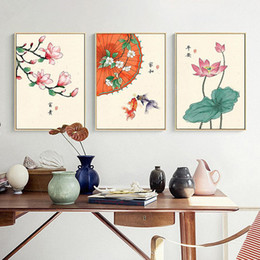Chinese Style Retro Lotus Magnolia Plants Flower Goldfish Canvas Painting Poster and Print Home Decor Wall Art Picture for Bedr on Sale