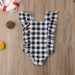 $enCountryForm.capitalKeyWord Australia - INS Girls plaid One Piece Newborn Infant Baby Girl Swimwear Ruffle fly sleeve black white Plaid Swimsuit Romper Jumpsuit A01612