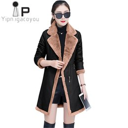 faux leather zipper jacket UK - Autumn Winter Faux Leather Jacket Women Wear Lambswool Outerwear Women Long PU Black Coat Harajuku Plus size Thicken Suede Coat