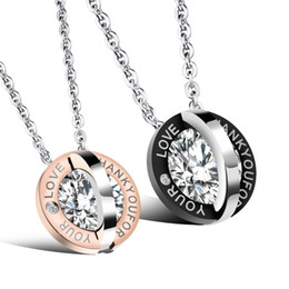 "$enCountryForm.capitalKeyWord Australia - ""Thank You for Your Love"" Couple Necklaces Two Round Cake Stainless Steel Romantic Trendy Designer Jewelry For Men Women Pendant Necklace"