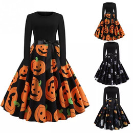 Female movie costumes online shopping - Halloween Women Brief Long Sleeve O Neck Printing Fancy Pumpkin Dress Princess Swing Ladies Costumes for Festival Party Club Cosply