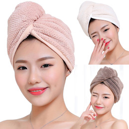 Microfiber Hair Drying Cap NZ - High Quality Microfiber Bath Towel Hair Dry Quick Drying Lady Bath Towel Soft Shower Cap Hat For Lady Hair Cap Wrap With Button