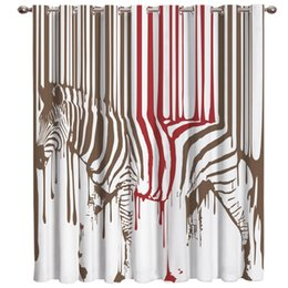 curtain painting Australia - Funny Animal Paint Splash Zebra Window Blinds Living Room Bathroom Blackout Curtains Outdoor Drapes Decor Curtain Panels