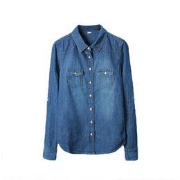 $enCountryForm.capitalKeyWord UK - Plus Size Vetement Fashion Style Women Clothes Blouse Long Sleeves Casual Denim Shirt Nostalgic Vintage Blue Jeans Shirt Camisa J190614