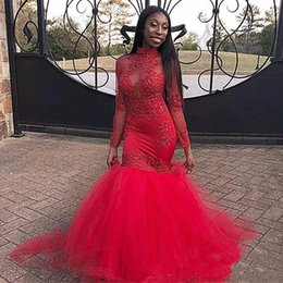 high neck lace bodice dress Canada - Red Mermaid Evening Dresses 2020 Illusion Bodice Sheer Long Sleeves High Neck Lace Appliques Formal Prom Dress Party Gown