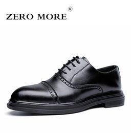 Male Shoes For Sale NZ - ZERO MORE Mens Casual Shoes Split Leather Hot Sale Brogues Dresses For Wokr Shoes Men 2019 Lace Up Oxfords Male Casual