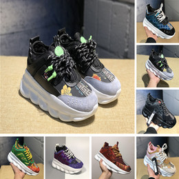Cotton deCo online shopping - With Box High Quality Chain Reaction Leopard Fashion Luxury Designer Shoes For Men Women Medusa Deco Link Embossed Sole Sneakers Size