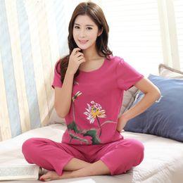 Chinese Pajamas Suits Australia - Female Pajamas Set Sleepwear New Print Chinese Women Cotton Linen Pyjamas Suit Flower Nightwear Summer Floral Casual Loose Suit