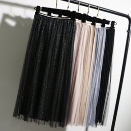 $enCountryForm.capitalKeyWord Australia - Gigogou Tulle Skirts Womens Black Gray Spring Summer Elastic High Waist Pleated Midi Skirt Ankle Length Lurex Tutu Skirt Y19050602