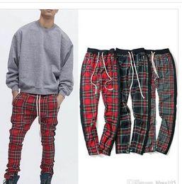 $enCountryForm.capitalKeyWord Australia - Vintage Plaid Jogger Pants Men Side Stripe Splice Track Pants Kanye West Ankle Zipper Slim Fit Trousers Hip Hop Clothing Streetwear