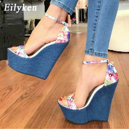 denim peep toe UK - Eilyken 2020 New Designer Print Denim Sandals Roman Sandals High Quality Wedges High Heels Peep-Toe Platform Shoes Woman Y200107