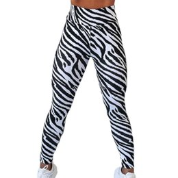 zebra print flats NZ - Women Zebra Print Pencil Pants Fashion Casual Slim High Waist Ankle-Length Pants For Women Sports Fitness Tacksuit Running