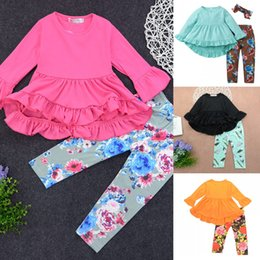 chinese suit skirt Australia - Spring autumn sets irregular skirt top floral floral pants two-piece girl girl suit