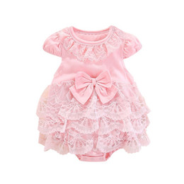 $enCountryForm.capitalKeyWord UK - INS Toddler Baby Girl Rompers Princess Dresses Summer Cotton Fly Sleeveless Turn-down Blank Pink Ruffles Bow Collar Newborn Jumpsuits 0-18M