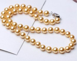 $enCountryForm.capitalKeyWord Australia - huge Pe Surprise you beautiful and expensive will bring you good luckrfect Round 10mm South Sea natural golden Shell Pearl Necklaces 19inch