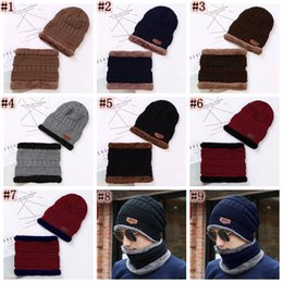 BaseBall caps for men wholesale online shopping - Beanie Hat Scarf Set Knit Hats Warm Thicken Winter Hat for Men and Woman Unisex Cotton Beanie Knitted Caps ZZA848