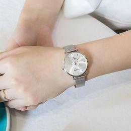 Pink Wrist Strap Australia - Women's Wristwatches Luxury Silver Pink Dial Flowers Quartz Clock Wrist Metal Dial with Mesh Alloy Strap LL@17