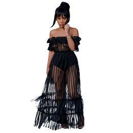 $enCountryForm.capitalKeyWord UK - Women Sexy Long Dress Off Shoulder Slash Neck Sheer Mesh Stripped Maxi Dress Black Transparent Summer Dress Rush Party Vestidos Y19071101