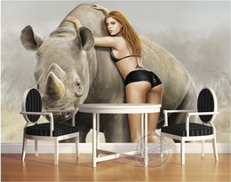 sexy 3d painting Australia - WDBH 3d wallpaper custom photo Hand-painted oil painting rhinoceros sexy beauty and beast home decor 3d wall muals wall paper for walls 3 d