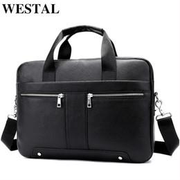 0e34fa443f40 WESTAL сумка для мужчин из натуральной кожи мужской кожаный портфель 14  сумка для ноутбука для бизнес-документов A4 тотализатор сумка 8522