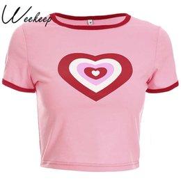 Cropped Tees Australia - Weekeep Women Slim Waist Pink Heart Print T Summer O-neck Cropped Short Sleeve T-shirt Sexy Tee Shirt Femme Crop Top Q190516