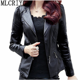 6xl motorcycle Australia - 2019 Spring Autumn PU Leather Jacket Women Soft Faux Leather Coat Short Slim Black Motorcycle Jackets Plus Size 5xl 6xl YQ103