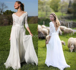 $enCountryForm.capitalKeyWord Australia - 2019 Bohemain Lace Wedding Dresses V-Neck Sweep Train Backless Chiffon Country Garden Beach Bridal Gown Plus Size Gorgeous Vestidoe De Noiva