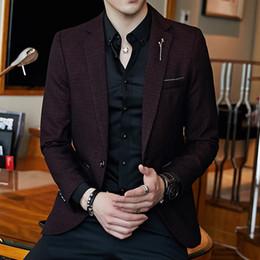 $enCountryForm.capitalKeyWord NZ - New Korean Version Of The Small Suit Men's Coat Slim Solid Color Small Suit Casual Fashion A Button Single Suit Men