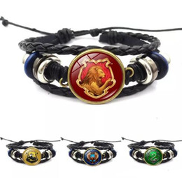 harry glasses Australia - Harry Book Hogwarts Gryffindor Slytherin Hufflepuff Ravenclaw Badge Bracelets Multilayer Wrap Bracelet Glass Cabochon Jewelry Potter 5 Color