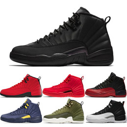 eac15350d8b6f0 Mens Basketball shoes 12s Winterized WNTR Gym Red Michigan Black Bordeaux 12  The Master Flu Game taxi sports sneaker trainers size 7-13