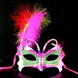 Pvc Plastic Full Face Masks Australia - 50pc women upper face Plastic Feather Masquerade Carnival Mardi Gras Masks Venetian Masks for wedding party ball H29