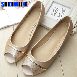 Lace Peep Toe Flats Australia - Fashion Women Flats Peep Toe Flats Comfortable PU Leather pink Gold White Shoes Woman Size 34-43 m954