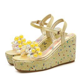 wedge leather sandals Canada - lovely yellow white beaded crystal rhinestone sandals women platform wedges heels designer shoes 2020 Size 34 To 40