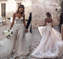 Fall sweetheart beach wedding dresses online shopping - 2019 Simple Design Plus Size Country Style D Floral Appliques A Line Wedding Dresses Bohemian Bridal Gowns for Brides robe de mariée BC2024