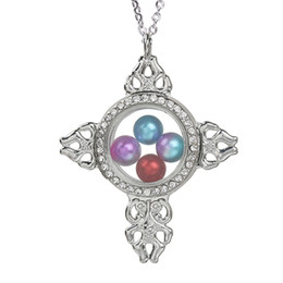 $enCountryForm.capitalKeyWord Australia - Magnetic Open Glass Cross Locket Pearl Cage Pendant Beads Cage Charms Living Memory Women Floating Charms With Stainless Steel Chain