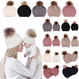 Red bobble hat online shopping - 5 Colors Parent child Caps with Pompon Warm Raccoon Fur Bobble Mommy Beanie Caps Kids Cotton Knitted Mom Baby Hat Winter