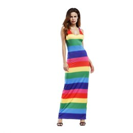 rainbow crosses UK - Summer Women Beach Dress Maxi Long Dress Boho Casual New Summer Wedding Evenings Party Sleeveless V-neck Rainbow Dress