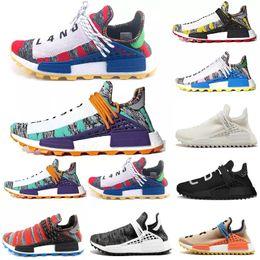 Black Sports Walking Shoes Women Australia - 2019 fashion Human Race Men Women Running Shoes Pharrell Williams walking Hu trail Afro Hu Solar Pack holi Black casual sport sneakers