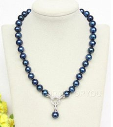 """$enCountryForm.capitalKeyWord UK - Jewelryr Pearl Necklace wholesale 17"""" 10.5-11.5mm round blue navy pearls pendant necklace Free Shipping"""