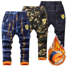 leggings for boys Australia - Winter Pants for Boy Casual Plaid Warm Thick Fleece Trousers Baby Kids Camouflage Full Pant Leggings T200103