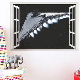 Wall Decor Stickers Scenery Australia - 3D False Window Wall Decor Spacecraft Wall Stickers Drawing Room Bedroom Home Decor DIY Scenery Poster Mural Wallpaper Wall Decals