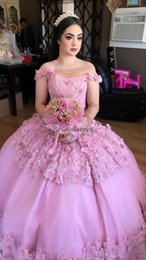 sweet 15 flowers 2019 - Princess Pink arabic quinceanera dresses ball gown one shoulder long sleeves sweet 16 dress bead lace prom party gown 20