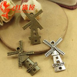 $enCountryForm.capitalKeyWord NZ - 27*16MM Antique Bronze Retro Netherlands Holland windmill charm pendant beads parts manual, DIY retro jewelry wholesale charms