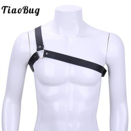 $enCountryForm.capitalKeyWord Australia - TiaoBug Hot Men Black PU Leather One Shoulder Adjustable Body Chest Harness Sexy Bondage Belt Men BDSM Bondage Costume Strap Top