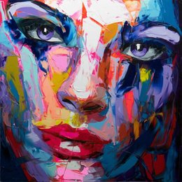 Handmade Modern Oil Painting Australia - Francoise Nielly Palette Knife Impression Home Artworks Modern Portrait Handmade Oil Painting on Canvas Concave and Convex Texture Face064