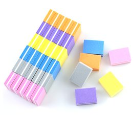 $enCountryForm.capitalKeyWord Australia - 20pcs lot Mini Nail File Double-sided Blocks Colorful Sponge Nail Polish Sanding Buffer Strips Polishing Manicure Tool