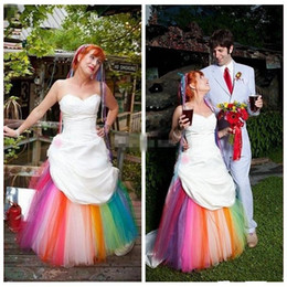 bf8055e2a67 Vintage Boho Sweetheart Satin Colorful A-Line Wedding Dresses Rainbow  Draped Bridal Gowns Lace Up Back Plus Size Vestidos De Soiree