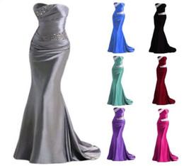 a058e80cb51b59 Meerjungfrau Brautjungfernkleider Günstige Burgund Silber Grau Lila Blau  Trauzeugin Kleid Abendkleider Abendkleid Lace Up Perlen