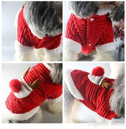 red white costumes NZ - Pet Christmas Costumes Cat And Dog Holiday Elk Dress Pet Dust Coat Fashion Teddy Winter Thick Jacket Red And White Pet Coat