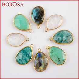 $enCountryForm.capitalKeyWord Australia - wholesale 10PCS Gold Color Mango Shape White Crystal Druzy labradorite Natural Stone Faceted Charms Gems Jewelry for Necklace G1558